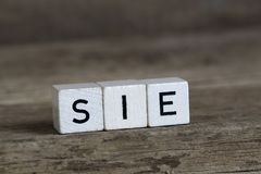 German word she, written in cubes Stock Photography