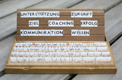 German words: Coaching Erfolg Ziel... Royalty Free Stock Photos