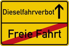 Free ride and diesel driving prohibited. The German words for free ride and diesel driving prohibited Freie Fahrt und Dieselfahrverbot on a road sign Stock Photography