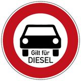 Diesel driving prohibited. German traffic sign  for diesel driving prohibited with german text for applies to diesel, isolated on white Royalty Free Stock Photos