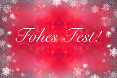 German words for merry christmas on red background Stock Images