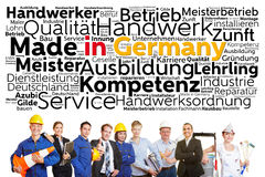German workers from different professions. With made in Germany tag cloud Stock Photography