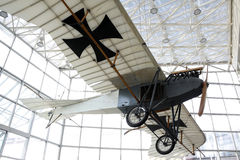 German world war one airplane. Museum of flight, Seattle, Washington, USA-January 12, 2012: a German world war one airplane is hung inside a glass structure at Royalty Free Stock Photos