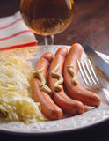 German wurstel saussages. With crauts Stock Images