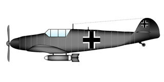 German WW2 fighter Messerschmitt Bf.109G Royalty Free Stock Image