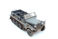 German WWII artillery tractor Sd.Kfz.10 D7. World War II German 1 ton halftrack prime mover somewhere on Ost front in 1942 3/4 view top front Royalty Free Stock Photos