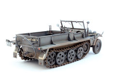 German WWII artillery tractor Sd.Kfz.10 D7. World War II German 1 ton halftrack prime mover somewhere on Ost front in 1942 3/4 view back Stock Photo
