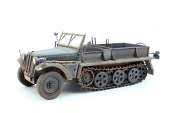 German WWII artillery tractor Sd.Kfz.10 D7. World War II German 1 ton halftrack prime mover somewhere on Ost front in 1942 3/4 view Stock Photography