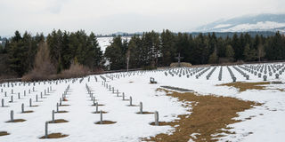 German WWII military cemetery in Vazec, Slovakia. VAZEC - MARCH 11, 2015: German military cemetery from WWII in Vazec, Slovakia stock images