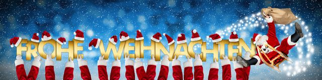 Frohe weihnachten merry christmas crazy funny santa claus on sl stock illustration