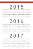 German 2015, 2016, 2017 year vector calendar. Simple German 2015, 2016, 2017 year vector calendar. Week starts from Monday Royalty Free Stock Photography