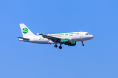 Germania Airbus A319. An Airbus A319 of Germania, a German airline, on approach Stock Image