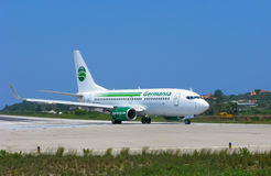 Germania airlines, Boeing 737-700. Airplane of Germania airlines on runway and ready to fly Royalty Free Stock Image