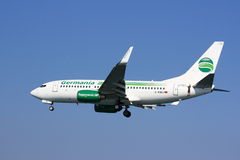 Germania Boeing 737. A Boeing 737-700 of Germania, a German airline, on approach Stock Photo