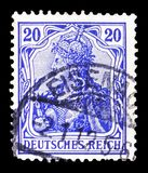 Germania with imperial crown, inscription 'REICHSPOST ', serie, circa 1900. MOSCOW, RUSSIA - FEBRUARY 10, 2019: A stamp printed in GermanRealm shows Germania royalty free stock photos