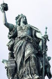 Germania Sculpture. The Germania sculpture, personifying Germany, is part of the Niederwald memorial. The Niederwald memorial is a monument located near Stock Photography