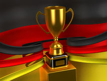 Germanian flag with gold cup. Computer generated image (3d render Stock Images