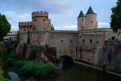 The Germans' Gate Bridge Castle. The last remaining bridge castle in France (Metz Royalty Free Stock Photos