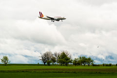 Germanwings airplane approaching Stuttgart Stock Image