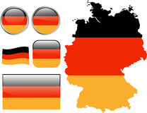 Germany. Map, flag and buttons - illustration vector illustration