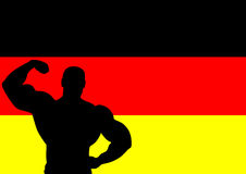 Germany. National flag of Germany with Athlete silhouette. Vector illustration Stock Image