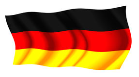 Germany Air  Flag. Illustration of Germany  flag in bright colors red yellow and black waving Stock Photo
