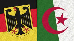 Germany and Algeria Flag. Fabric Texture - High Resolution - Two Flag Together royalty free stock photo