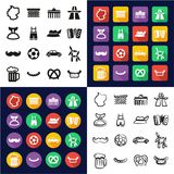 Germany All in One Icons Black & White Color Flat Design Freehand Set. This image is a vector illustration and can be scaled to any size without loss of Royalty Free Stock Photo