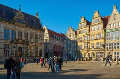 Germany. Ancient houses on the Market Square in Bremen. February 14, 2018. Germany. Bremen. Ancient houses on the Market Square in Bremen. February 14, 2018 royalty free stock image