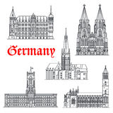 Germany architecture buildings vector icons Royalty Free Stock Images