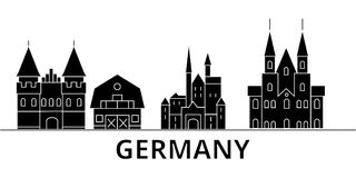 Germany architecture vector city skyline, travel cityscape with landmarks, buildings, isolated sights on background Stock Image