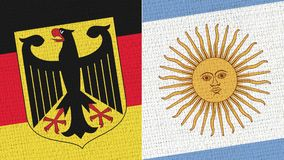 Germany and Argentina Flag. Fabric Texture - High Resolution - Two Flag Together royalty free stock photo