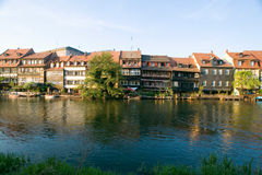 Germany,Bamberg, view of town at the water. With blue sky royalty free stock photo