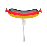 Germany banger. Sausage on a fork. Traditional delicacy in color. Of  flag. Vector illustration. Ppresent German quality Royalty Free Stock Images