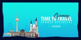 Germany banner. Time to Travel. Journey, trip and vacation. Vector flat illustration. Germany banner. Time to Travel. Journey, trip and vacation. Vector flat Stock Photo