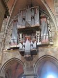 The organ in the Bamberg Cathedral of St. Peter and St. George royalty free stock images
