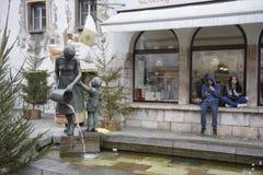 germany bavaria Il Natale commercializza nella vecchia città di Berchtesgaden immagine stock