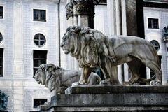 Germany, Bavaria, Munich, Feldherrenhalle, lion statue Royalty Free Stock Photos