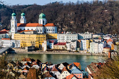 Germany, bavaria, passau. View of the city of passau in bavaria. here are attributed to the inn, the danube and the ilz together stock photo