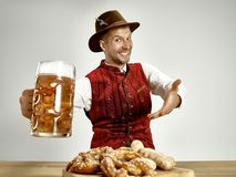 Free Germany, Bavaria, Upper Bavaria, Man With Beer Dressed In Traditional Austrian Or Bavarian Costume Stock Photography - 126011032