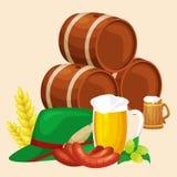 Germany beer festival oktoberfest, bavarian beer in glass mug, traditional party celebration, vector illustration Stock Image
