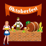 Germany beer festival oktoberfest, bavarian beer in glass mug, traditional party celebration, vector illustration Royalty Free Stock Images