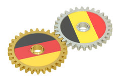 Germany and Belgium relations concept, flags on a gears. 3D rend Stock Photography