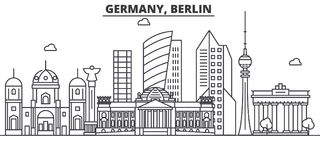 Germany, Berlin architecture line skyline illustration. Linear vector cityscape with famous landmarks, city sights Stock Photo