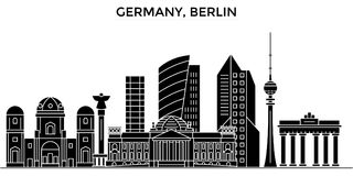 Germany, Berlin architecture vector city skyline, travel cityscape with landmarks, buildings, isolated sights on Royalty Free Stock Photo