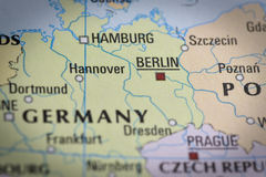 Germany-Berlin in close up on the map. Royalty Free Stock Photography