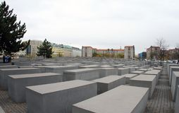 Germany ,Berlin,Jewish Holocaust Monument in Berlin. The monument of the Jewish people who suffered during the war. The monument resembles a large labyrinth stock photography