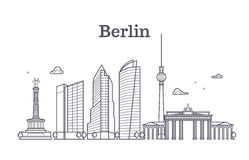 Germany berlin line vector landscape, city panoramic houses. Panorama berlin city, illustration of downtown outline berlin stock illustration