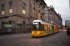 Germany Berlin, Museum Island, public transport system, progressive light rail,. Public transportation system on the streets of Museum Island, Berlin, Germany Royalty Free Stock Image