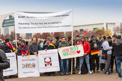 GERMANY, BERLIN - NOVEMBER. 02, 2016: This is What Democracy Looks Like chant as marchers arrive with banners, part of. Gigantic turnout royalty free stock photo